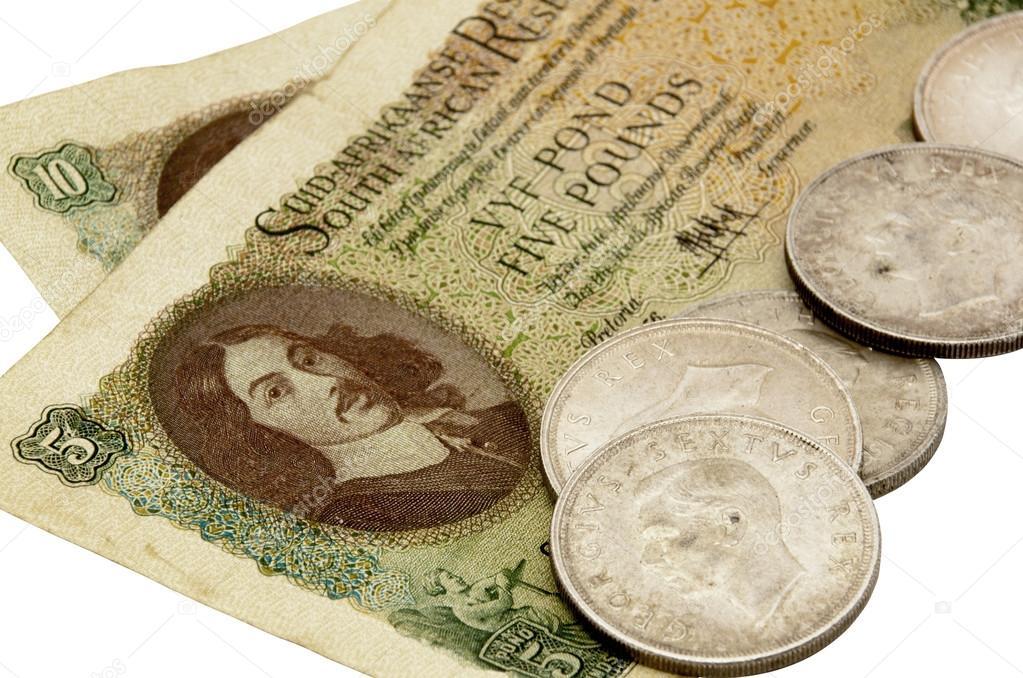 Vintage Südafrikanische Fünf Pfund Note Mit Fünf Schilling Münzen