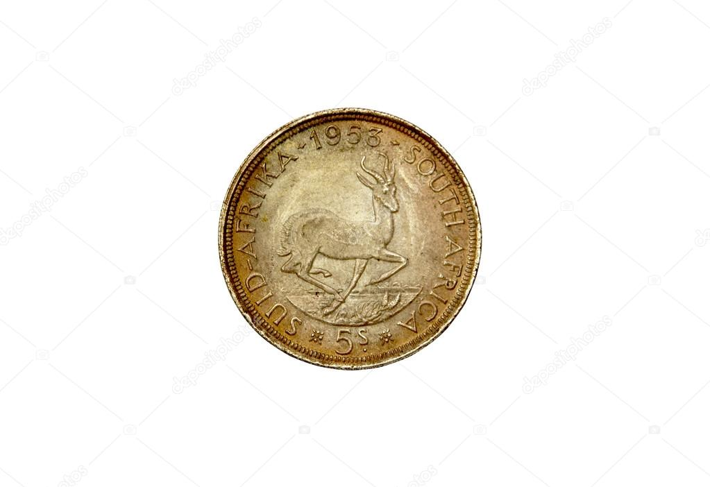 1953 Union Von Südafrika Fünf Schilling Münze Stockfoto Lcswart