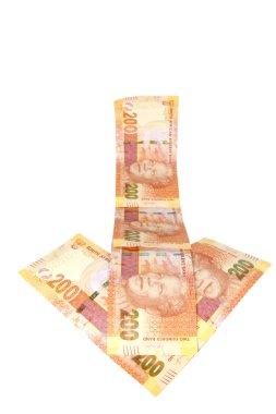 Concept Arrow of South African Rand Depreciating