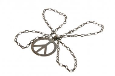 Silver Peace Pendant with Chain Shaped as Four Leaf Clover