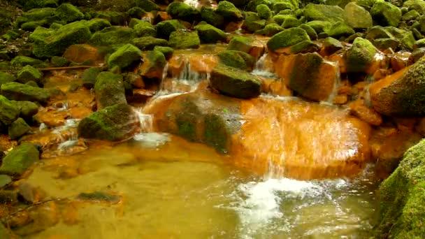 kaskády v minerální voda. červeného železitého sedimentů na velké balvany mezi zelené kapradí