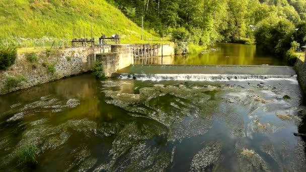 studené vody toku říčka nad malé kamenité Weira. malé vodní květ květ pod jezu v vlnky bahnité vody. kamenné stěny jezu