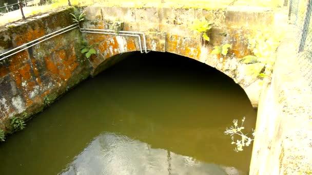 vody z toku říčka do malé kamenité tunelu nebo mostu. Zelená kalné vody se stíny a reflexe. kamenné stěny jezu