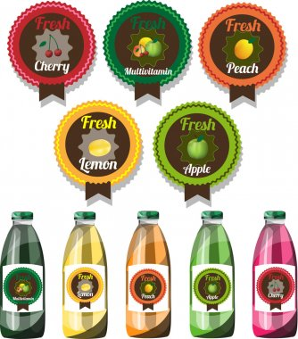 Set of vector fruit juice labels with vector bottles with changing labels