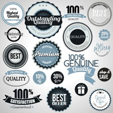 Set of premium quality labels clip art vector