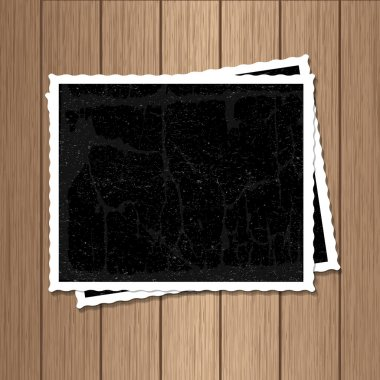 Vector photos on wood texture