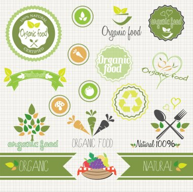 Set of vector organic food stickers, labels and elements