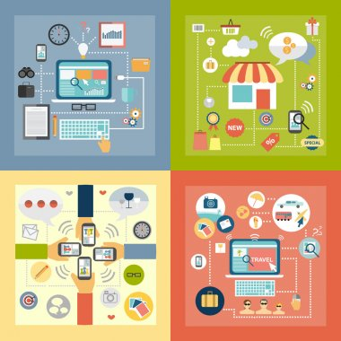 High quality flat design icon concept for searching, network, travel, studyng, shopping and communication clip art vector