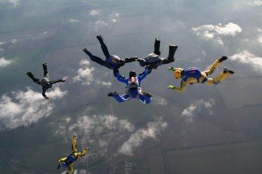 Teambuilding. Parachutists in air