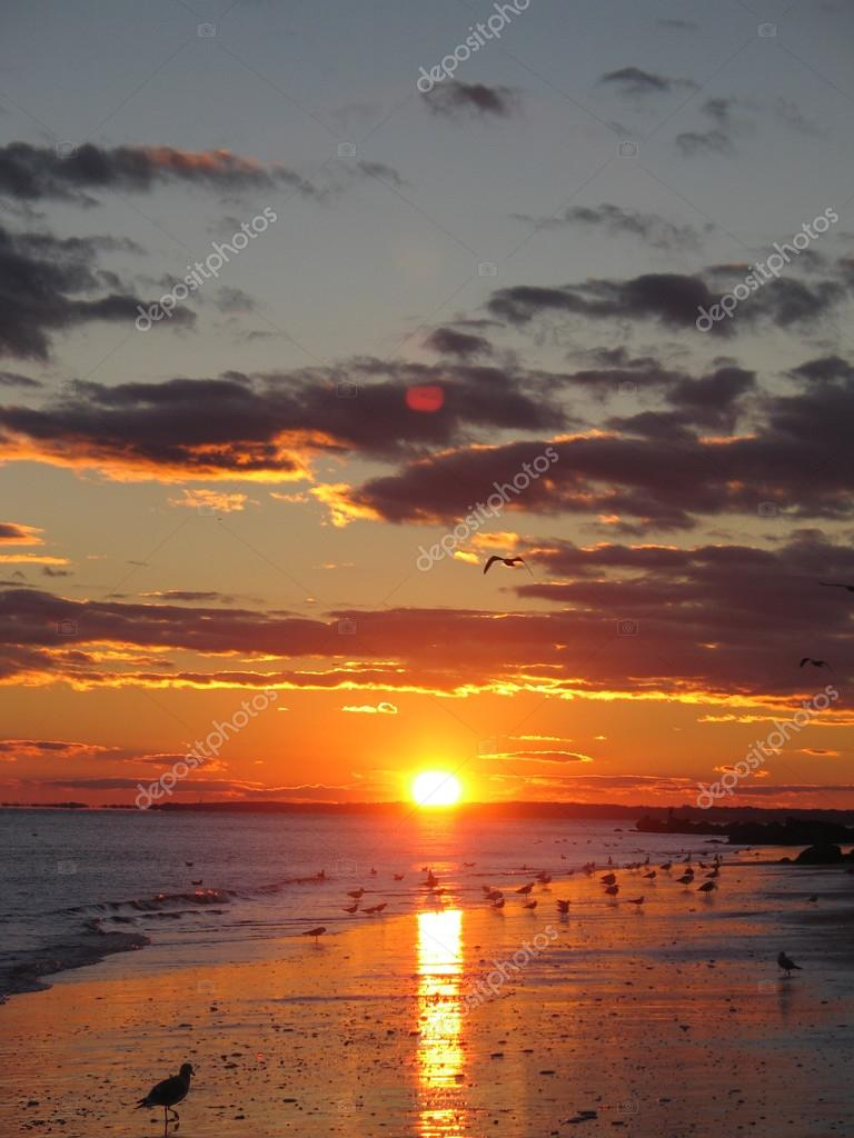 Sunset at sunken meadow beach, Long Island New York