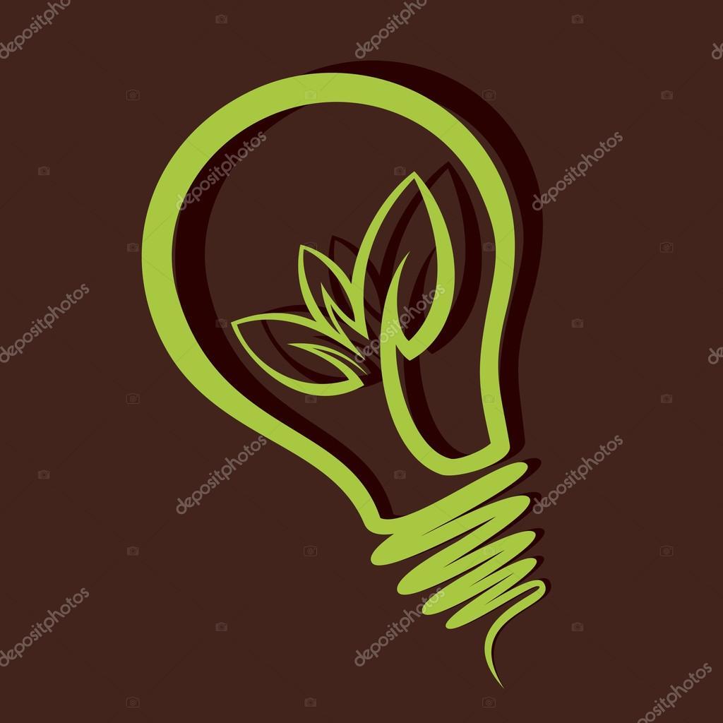 Creative green leaf bulb stock vector