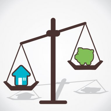 House price is more than you save money concept vector