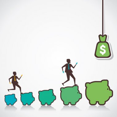 Business growth or businessmen move to top or more money