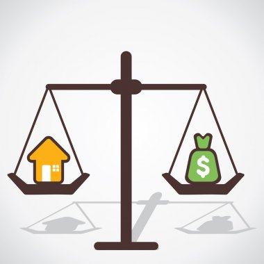Home and price is equal concept vector