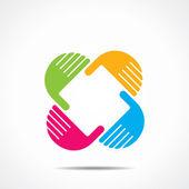 kreativní ruční ikona, uspořádat ruku a čtvercového tvaru vektoru