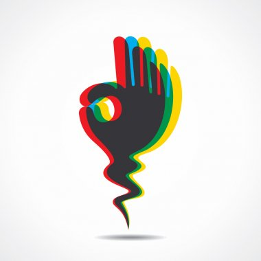 Ok sign or different color overlap of ok sign hand vector