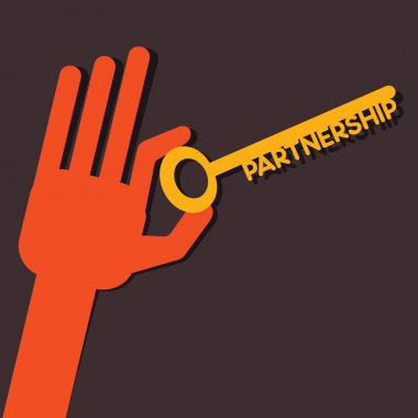 Partnership key in hand stock vector