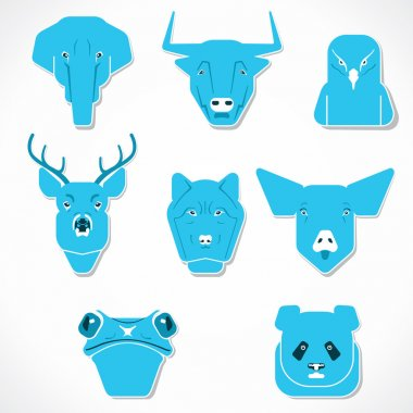 Animal face set stock vector
