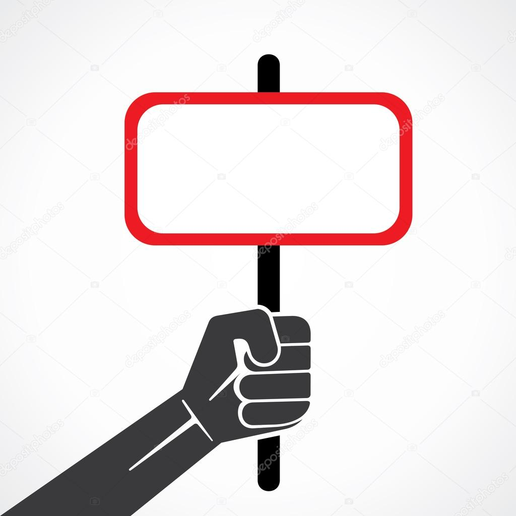 Blank placard held in hand and write your message vector