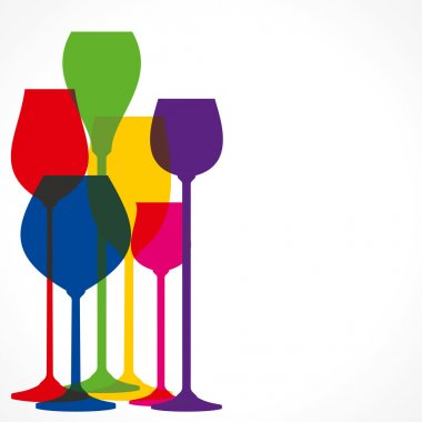 Colorful different shape wine glass vector