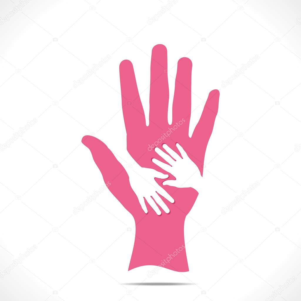 Tow child hand over mother hand vector