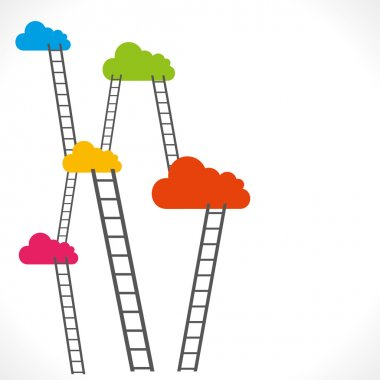 Colorful cloud with ladder background vector
