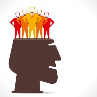 People team stand in human head concept