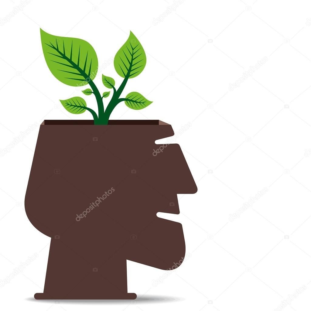 Plant in human head concept
