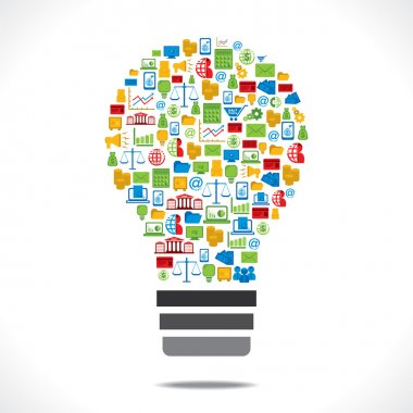 Bulb design with colorful business icon
