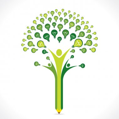 Green bulb or idea pencil tree design