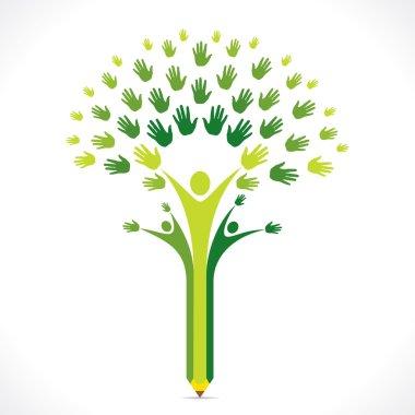 Creative kids pencil hand tree design