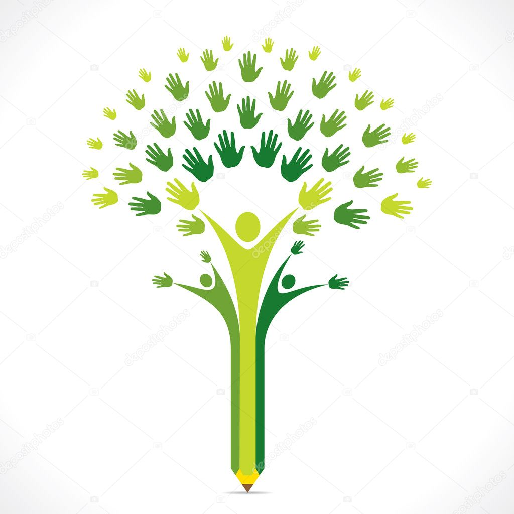 Creative kids pencil hand tree design