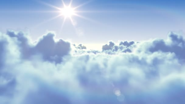 repül át a felhők, a délutáni nap. 3d animáció zökkenőmentes. HD 1080