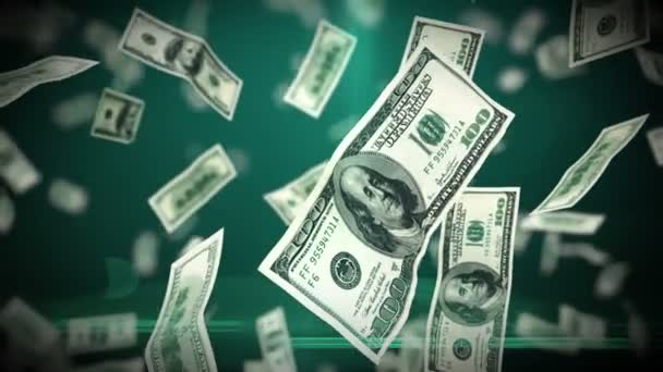 100 Dollar bills flying up in looped animation. HD 1080