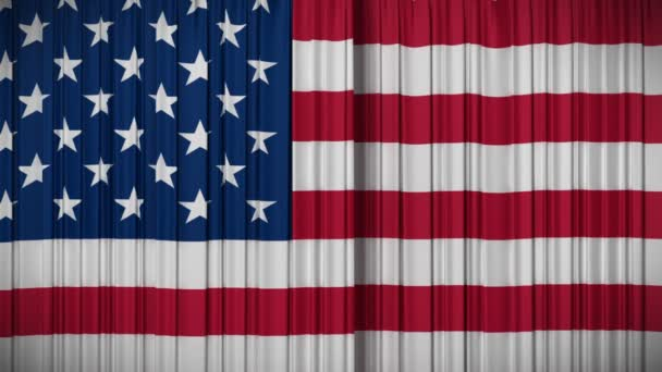 Highly detailed 3d animation of USA flag curtain opening and closing with green screen, HD 1080.