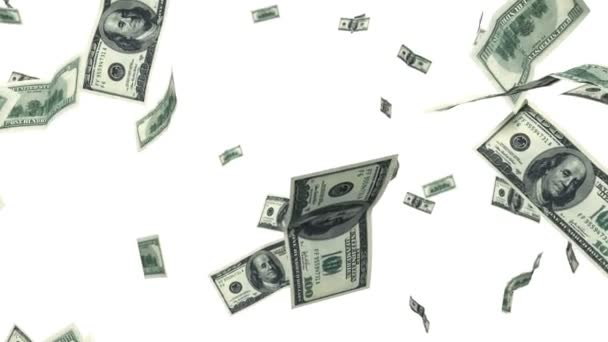 sto dolarové bankovky létání ve smyčce animace na bílém pozadí. 1080 p HD. Maska alfa.