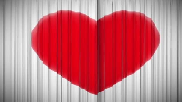 Opona se srdcem otevírání a zavírání. 1080 p HD.
