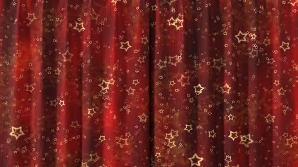 Roter Vorhang mit Sternen, die in high Definition mit Alphamaske öffnen. nützlich für Präsentationen