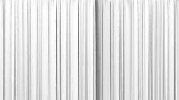 hochdetaillierte 3D-Animation des Öffnens und Schließens des weißen Vorhangs mit grünem Bildschirm. 1080.