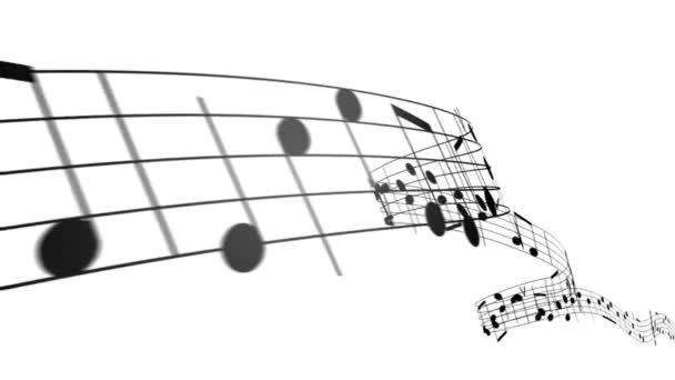 Music notes in 3d. HD. Loopable.