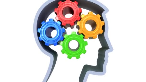 Human head with rotating gears, bright colors.