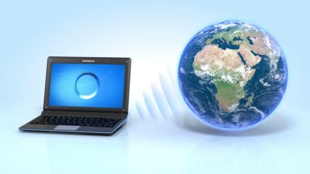 Globální síťové připojení. HD. notebook a země na reflexní podlaží. notebook přenášet vlny na zemi