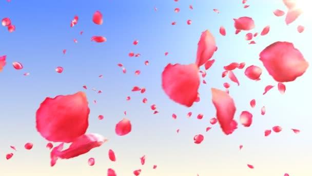 fliegende Rosenblätter in den Himmel mit Sonne. HD 1080. loop animation