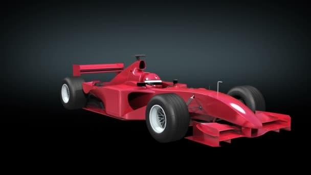 Formel 1-Rennwagen rot auf schwarzem Hintergrund drehen. keine Logos und Werbung. 3d Animation geloopt. HD 1080. Alpha enthalten.