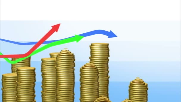 Graphs with coins bars. Looped animation. Alpha mask. HD 1080.