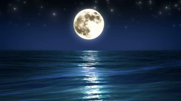 moře a měsíc. noční obloha. smyčky animace. 1080 p HD