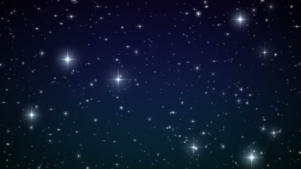 Stars in the sky. Looped animation. Beautiful night with twinkling flares. HD 1080.
