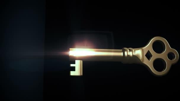 blocco sblocco a chiave e porta apertura a una luce brillante. HD 1080. maschera alfa incluso.