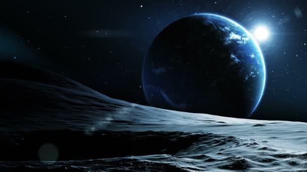 pohled z měsíce na zemi. krásný východ slunce. 1080 p HD