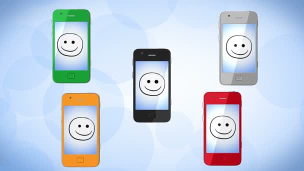 sociální síť. barevné telefony. alfa kanál zahrnuty. 1080 p HD